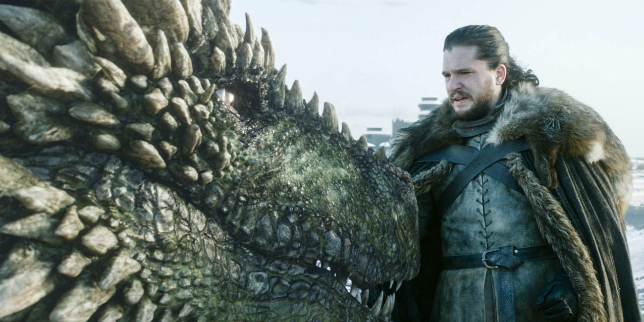 Rhaegal the Dragon and Jon Snow (Kit Harington) on 'Game of Thrones'