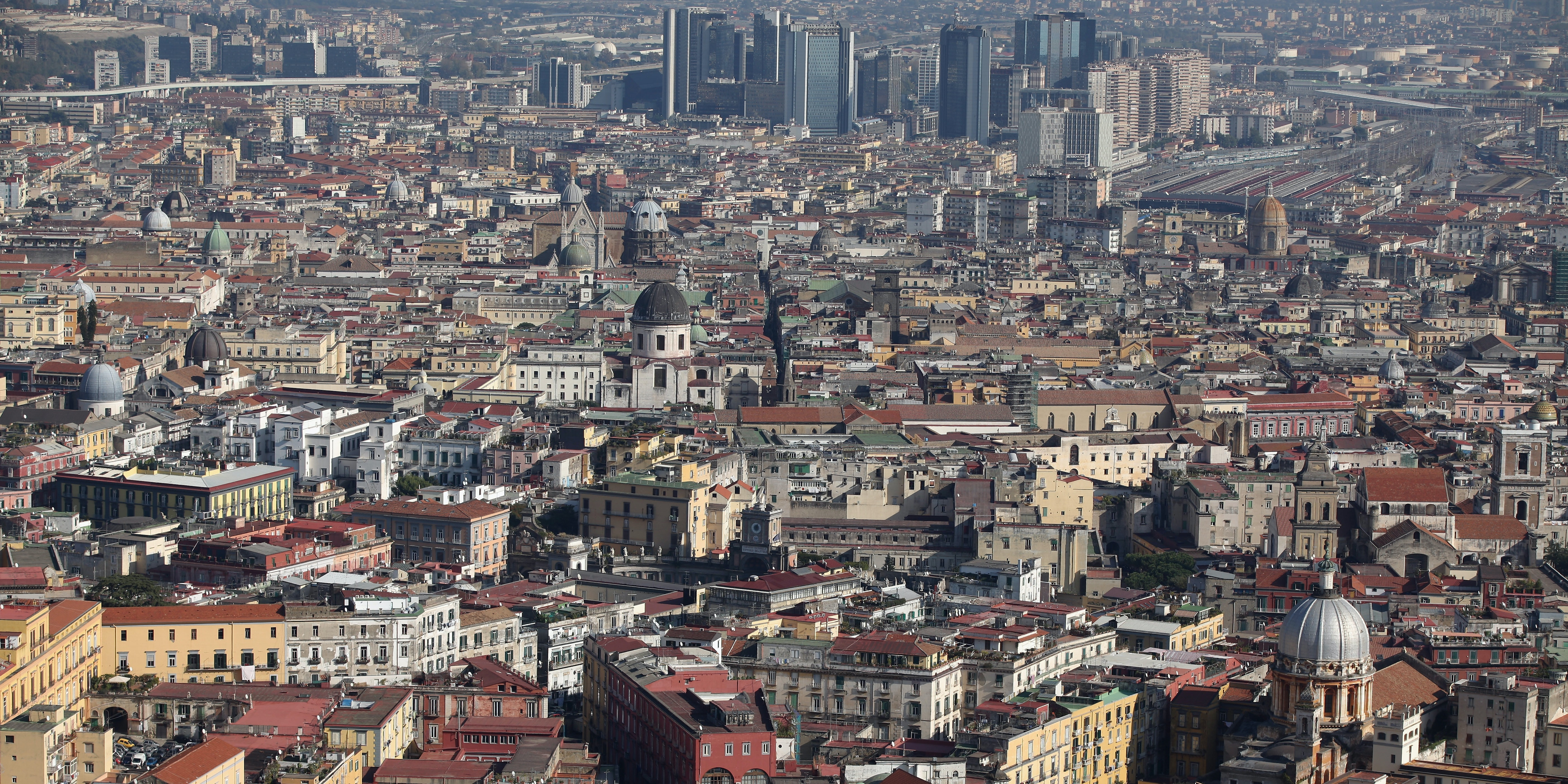 The densely populated city of Naples, Italy.