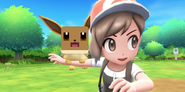 'Pokémon: Let's Go! Eevee' with a 'Pokémon Quest' face on it.
