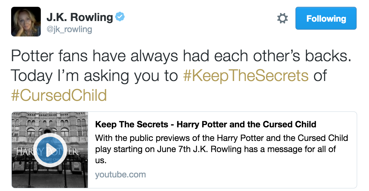 "J.K Rowling asked fans to not spoil ""The Cursed Child."""