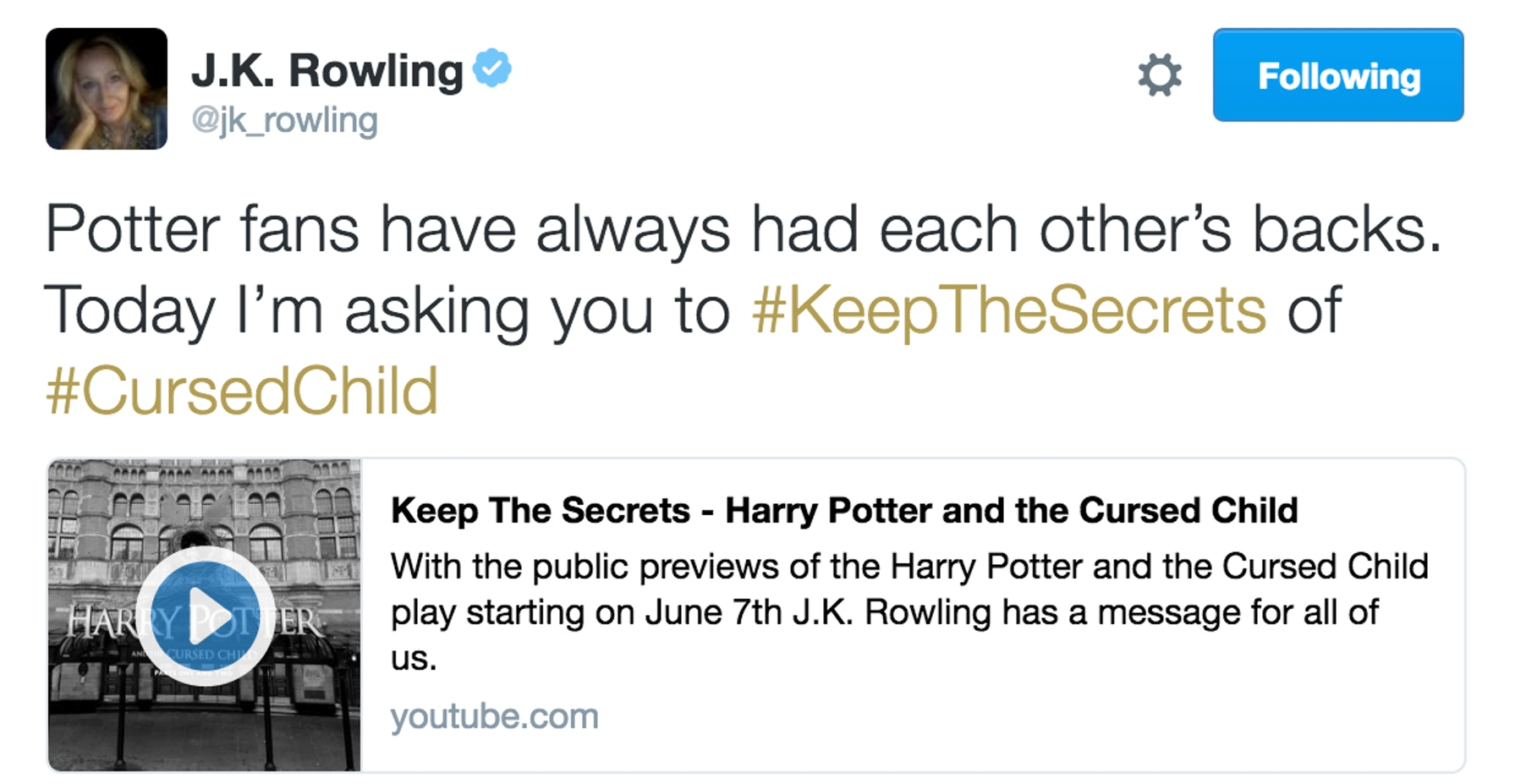 """J.K Rowling asked fans to not spoil """"The Cursed Child."""""""
