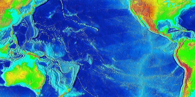 Elevation of the Pacific oceanSource: ETOPO2v2, a digital database of seafloor and land elevations created by the World Data Center for Geophysics & Marine Geology (Boulder, CO), National Geophysical Data Center, NOAA.