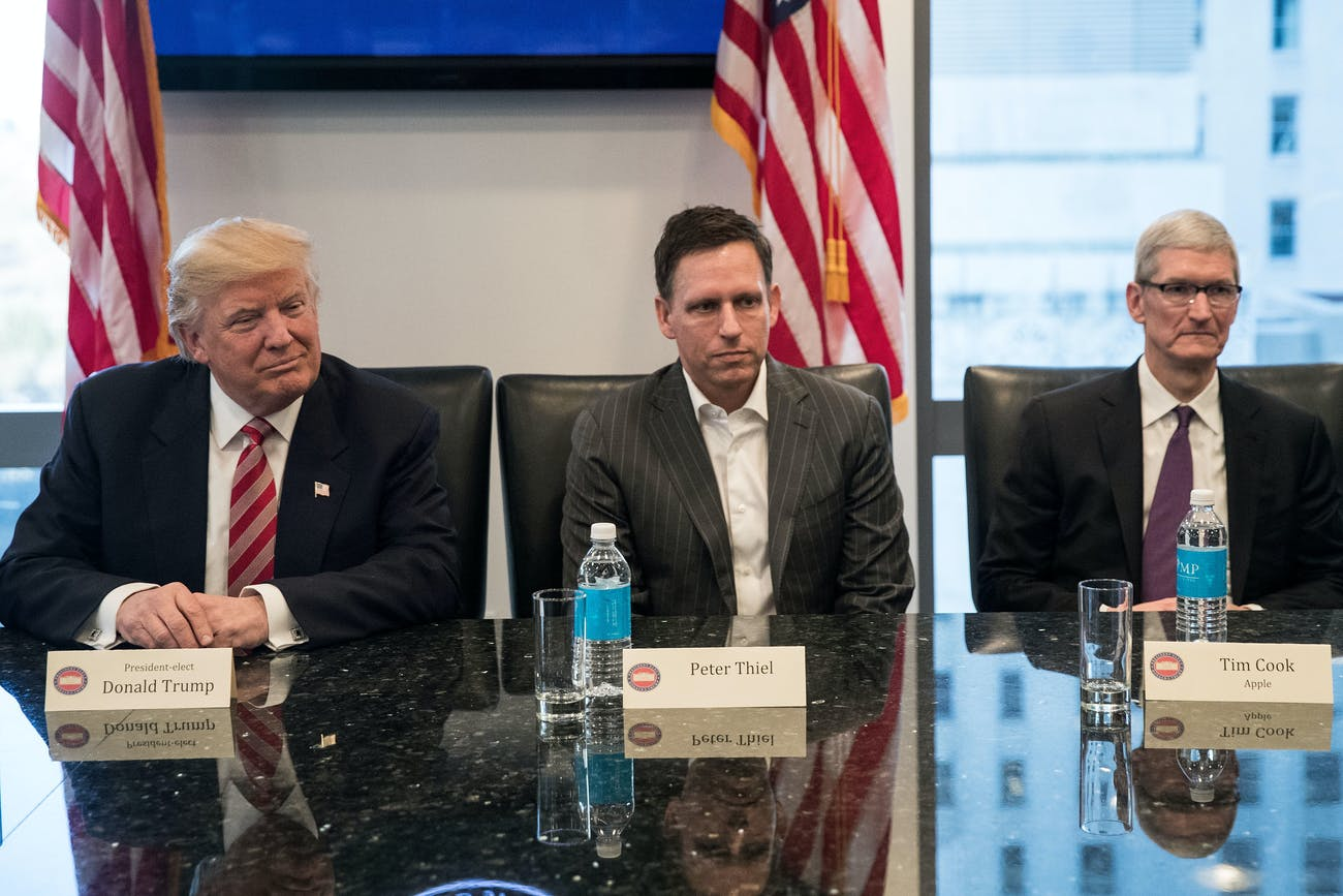 Trump meeting with Peter Thiel and Tim Cook in Trump Tower.