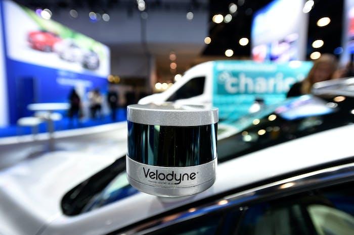 A Velodyne LiDAR sensor mounted on a Ford Fusion autonomous development vehicle at CES 2017.