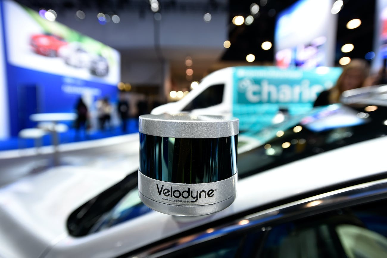 A Velodyne LiDAR sensor mounted on a Ford Fusion autonomous development vehicle at CES 2017.