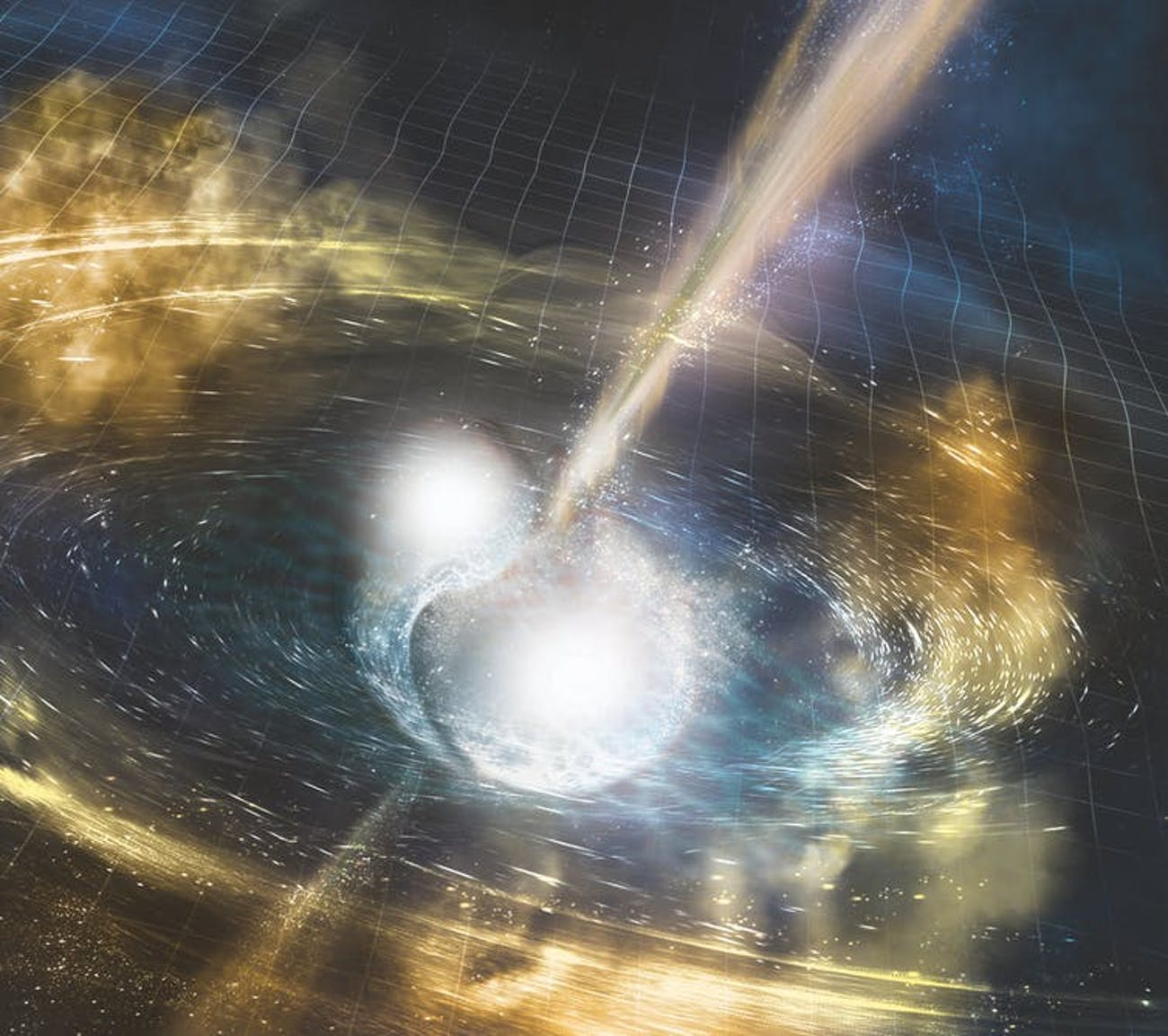 An artist's depiction of a space warping collision of two merging neutron stars. The ripples represent the gravitational waves that distort the space-time grid. The narrow beams shooting out of the collision show the gamma rays burst that are released after the gravitational waves. The yellow clouds glow with other wavelengths of light that are generated in the collision.