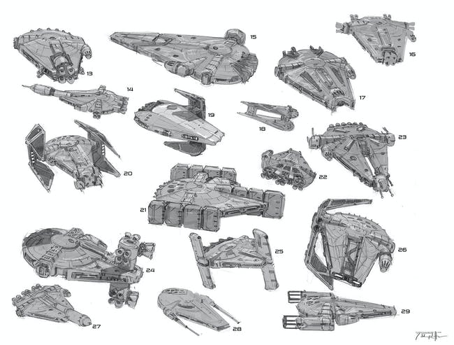 Some unused Falcon designs. I spy some B-Wing and TIE Interceptor bits.