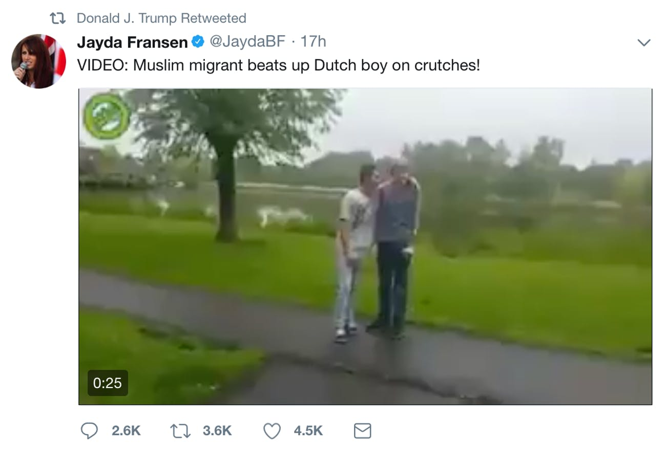 One of the videos retweeted by Trump.