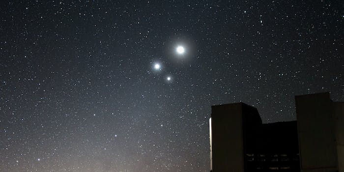 The moon, Jupiter and Venus.