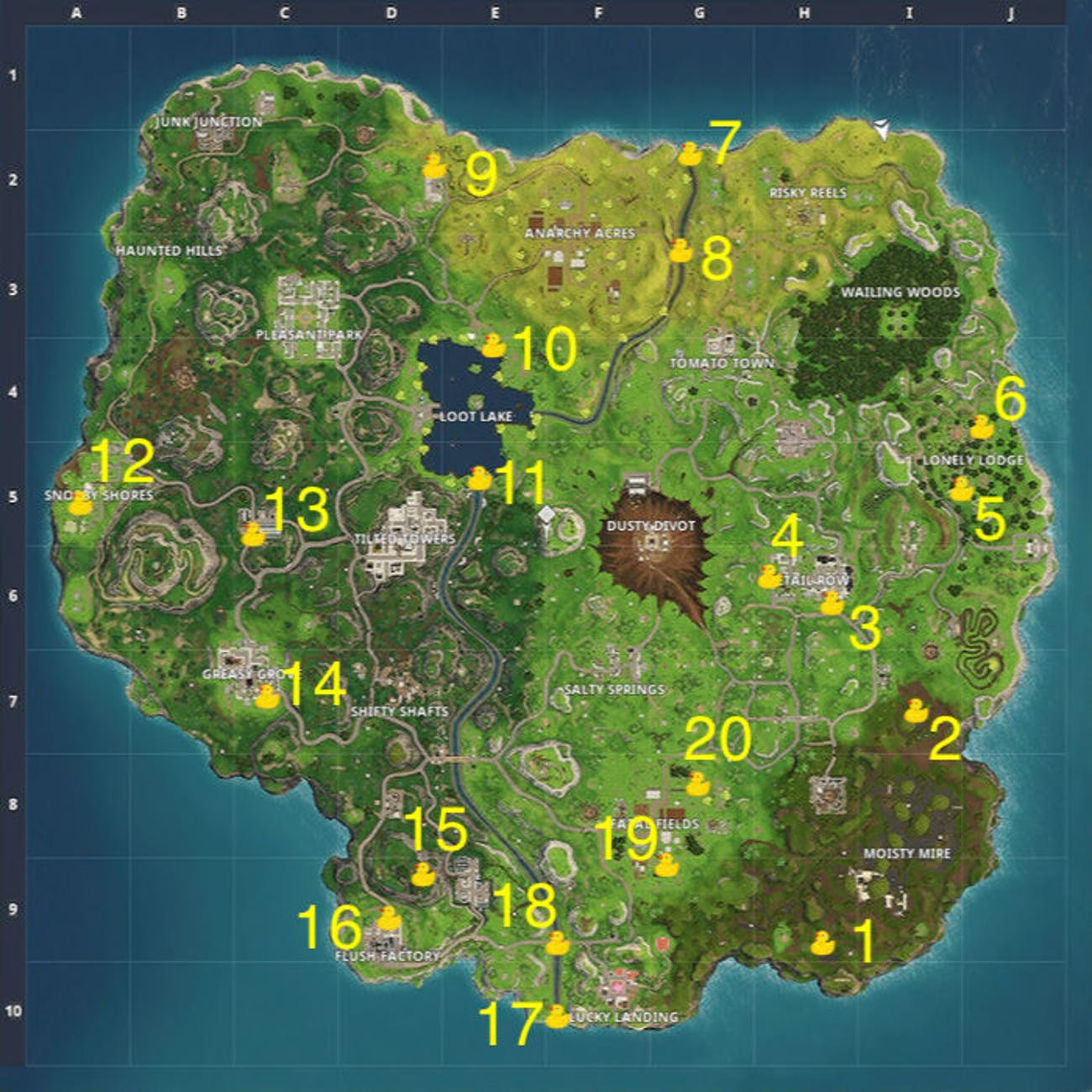 That's a whole lot of Rubber Duckies on the 'Fortnite' map.