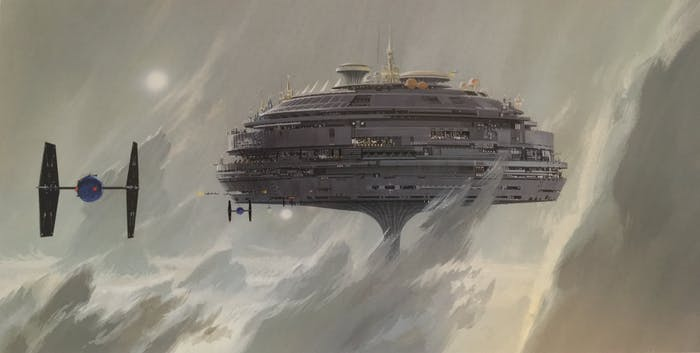 """Ralph McQuarrie's """"Imperial City, Alderaan -- city floats in gray clouds"""" version 2 for the original 1977 film."""