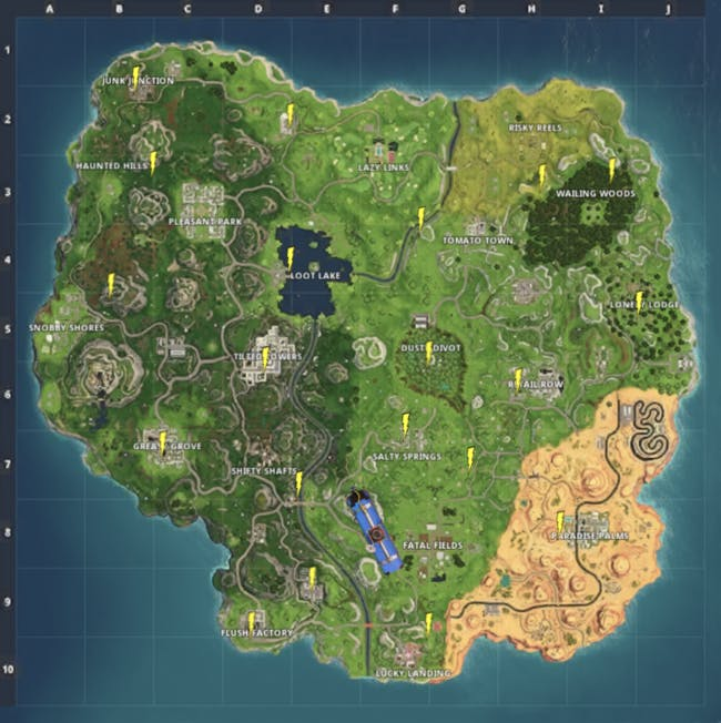 These might be all of the floating Lightning Bolt locations in 'Fortnite: Battle Royale' Season 5.