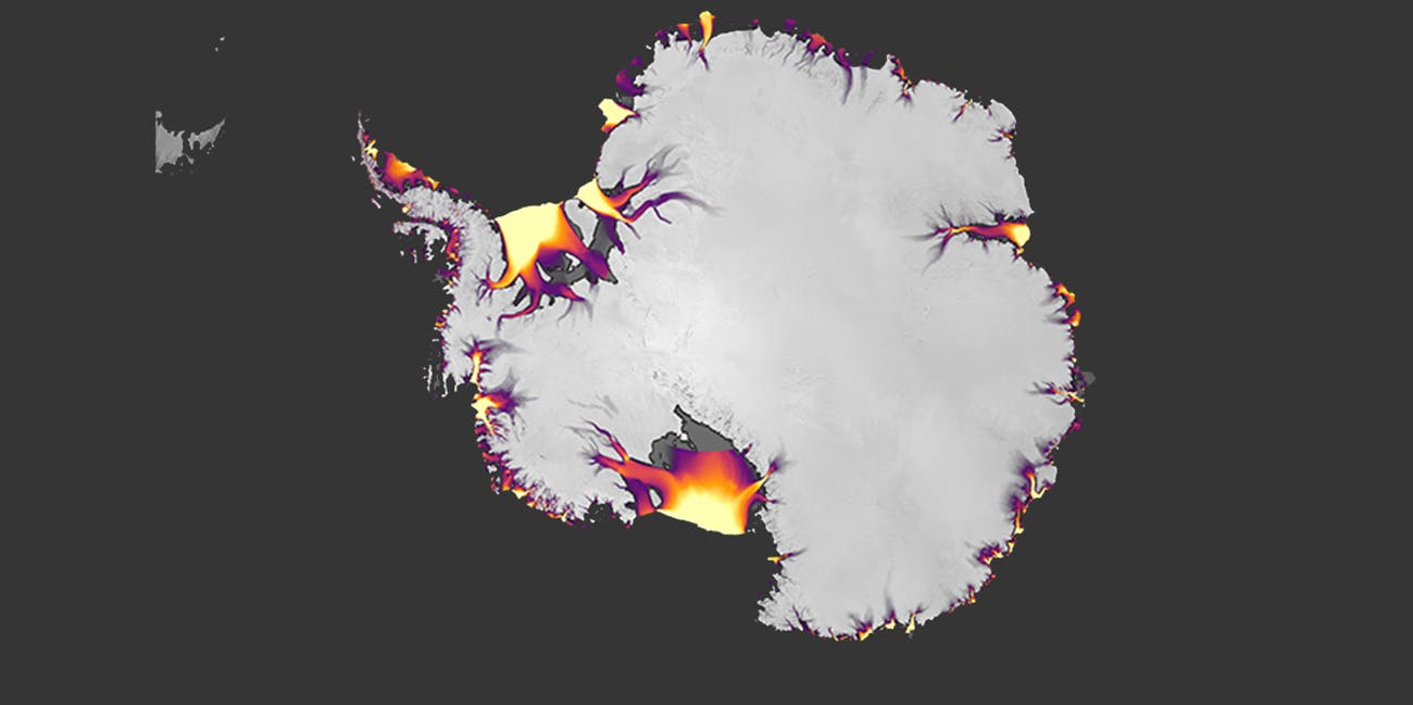 The flow of Antarctic ice, derived from feature tracking of Landsat imagery.