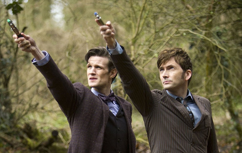 "The 11th and 10th Doctors with their sonic screwdrivers in ""The Day of the Doctor"""