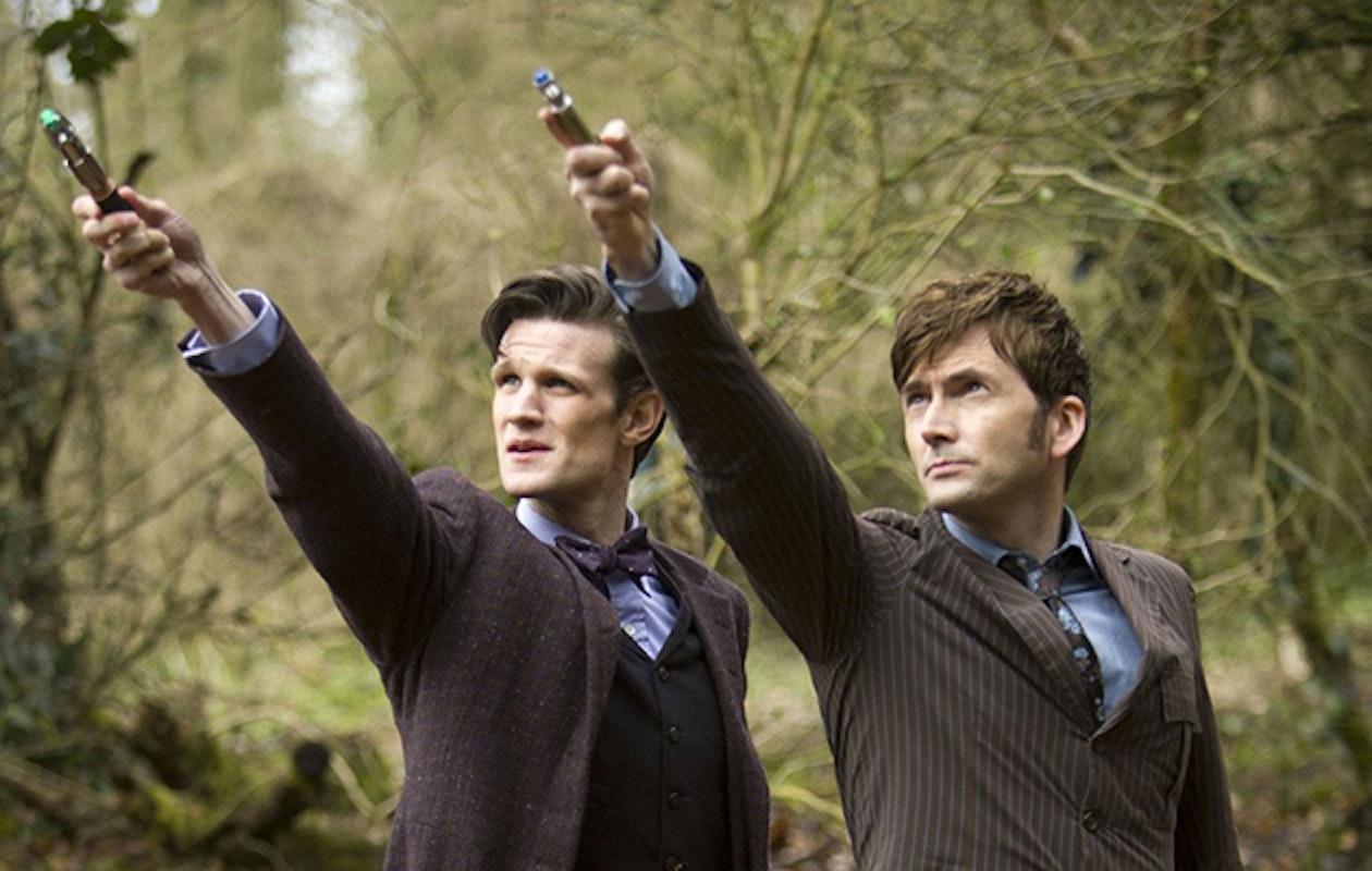 """The 11th and 10th Doctors with their sonic screwdrivers in """"The Day of the Doctor"""""""