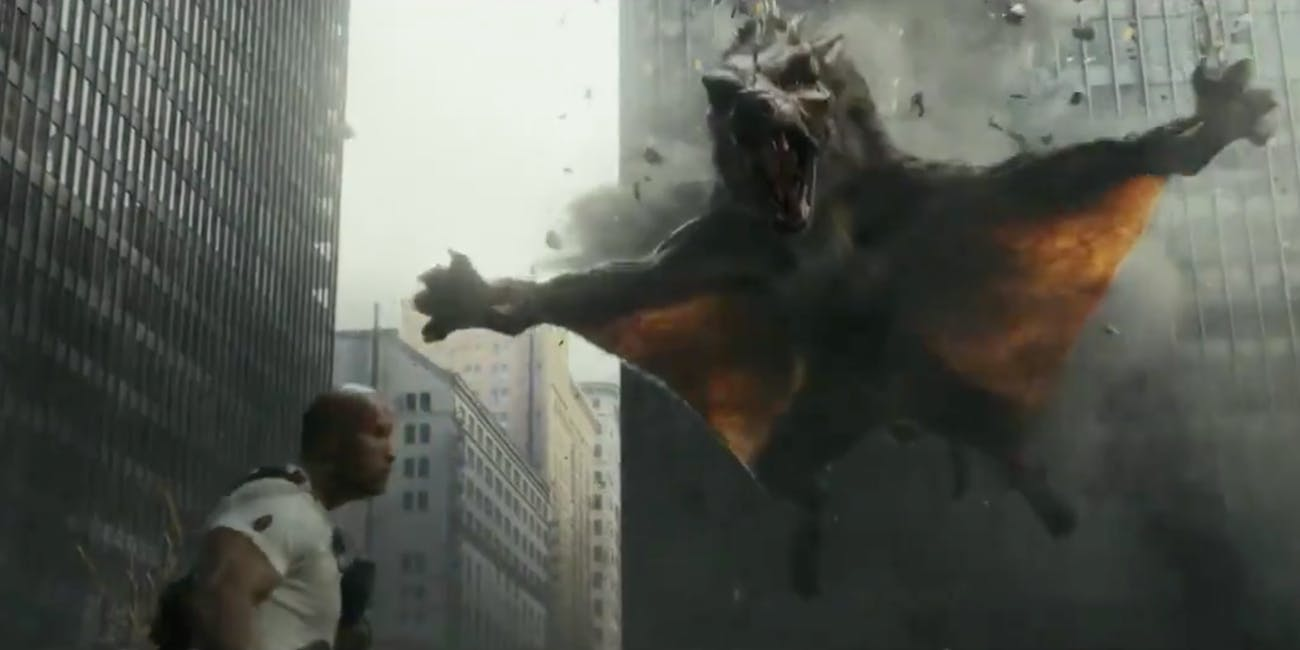 Ralph the wolf flies in Rampage