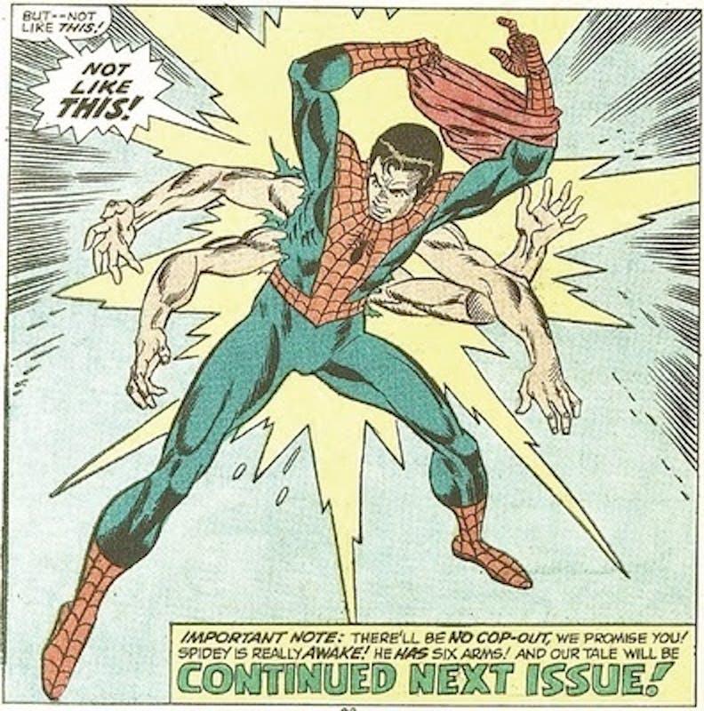 Yep, this really happened. Spider-Man had eight limbs.