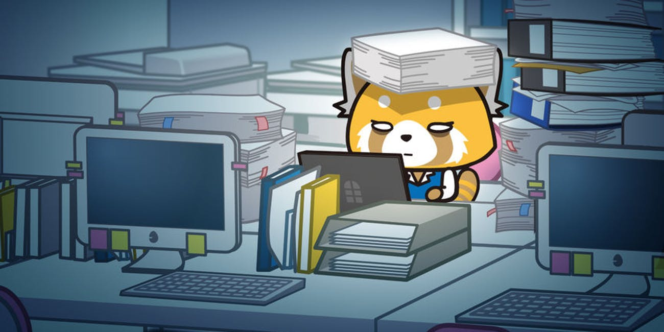 Still from Aggretsuko of Retsuko buried in paperwork