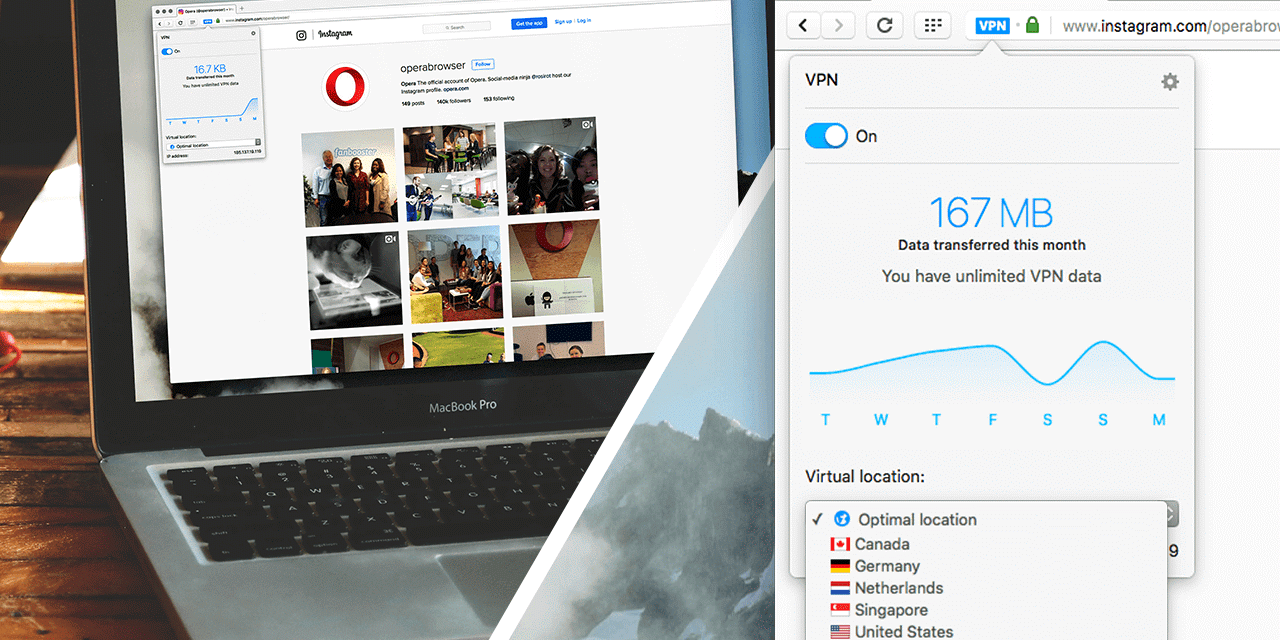 Opera's latest browser features a built-in VPN.