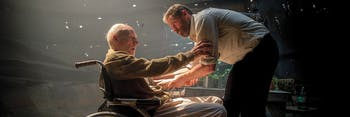 Patrick Stewart and Hugh Jackman in 'Logan'