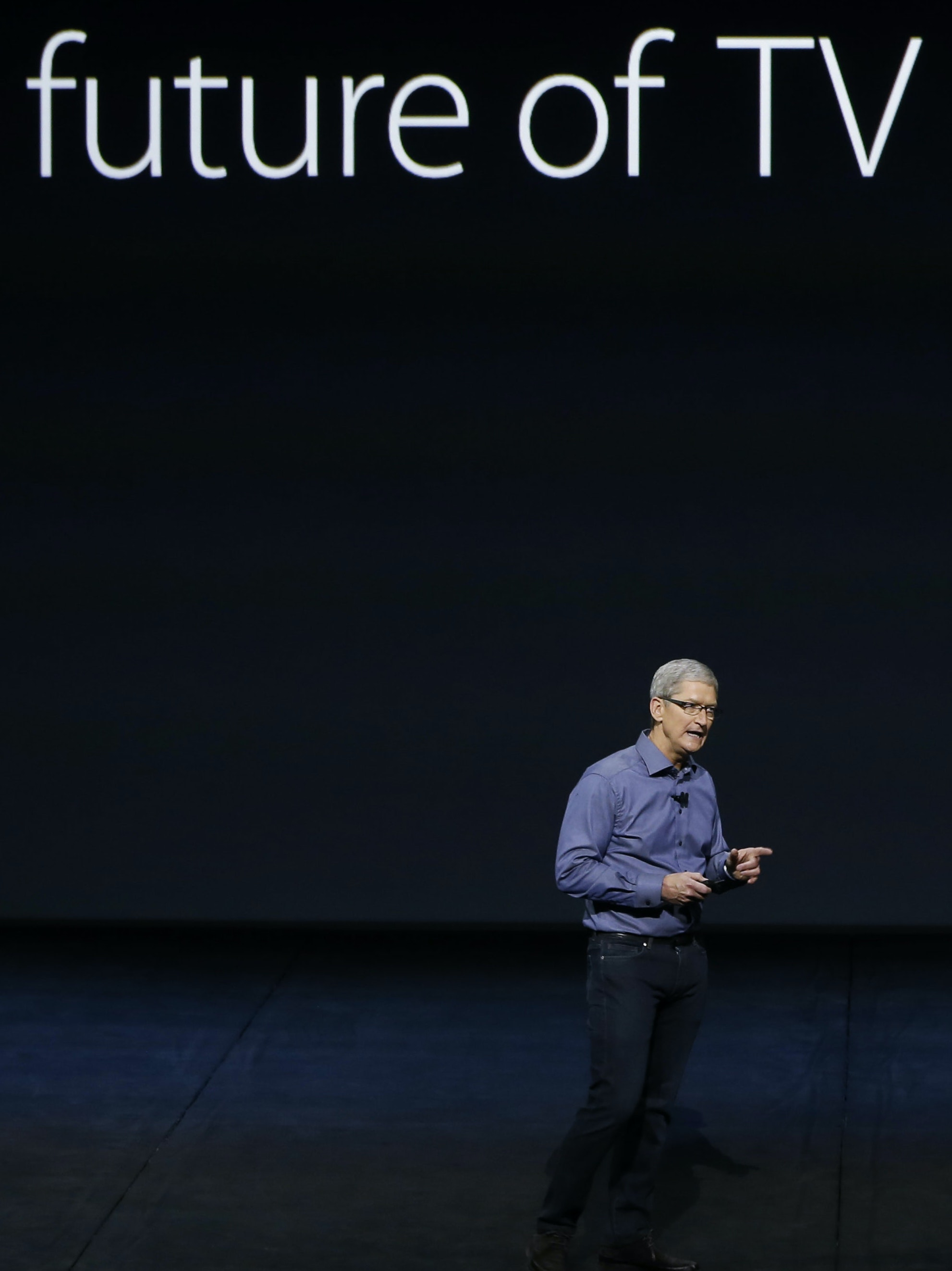 Apple CEO Tim Cook introduces the New Apple TV during a Special Event at Bill Graham Civic Auditorium September 9, 2015 in San Francisco, California. Apple Inc. is expected to unveil latest iterations of its smartphone, forecasted to be the 6S and 6S Plus. The tech giant is also rumored to be planning to announce an update to its Apple TV set-top box.