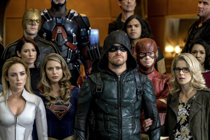 """This is only a sampling of the heroes features in """"Crisis on Earth-X."""""""