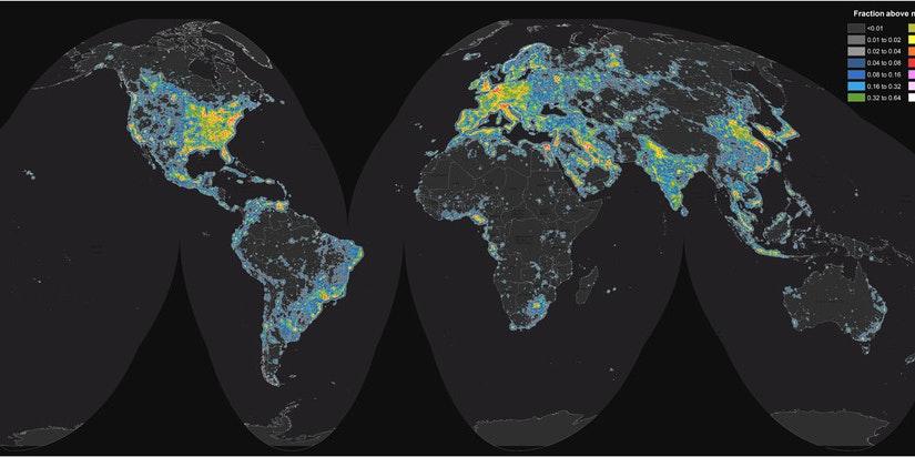 World map of artificial sky brightness.