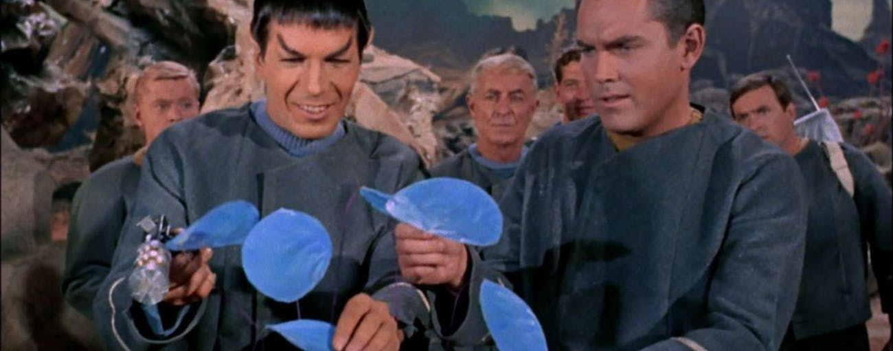 """Spock and Captain Pike in """"The Cage"""""""