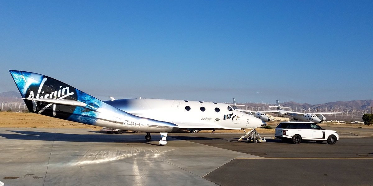 The new and improved SpaceShipTwo out on the tarmac.