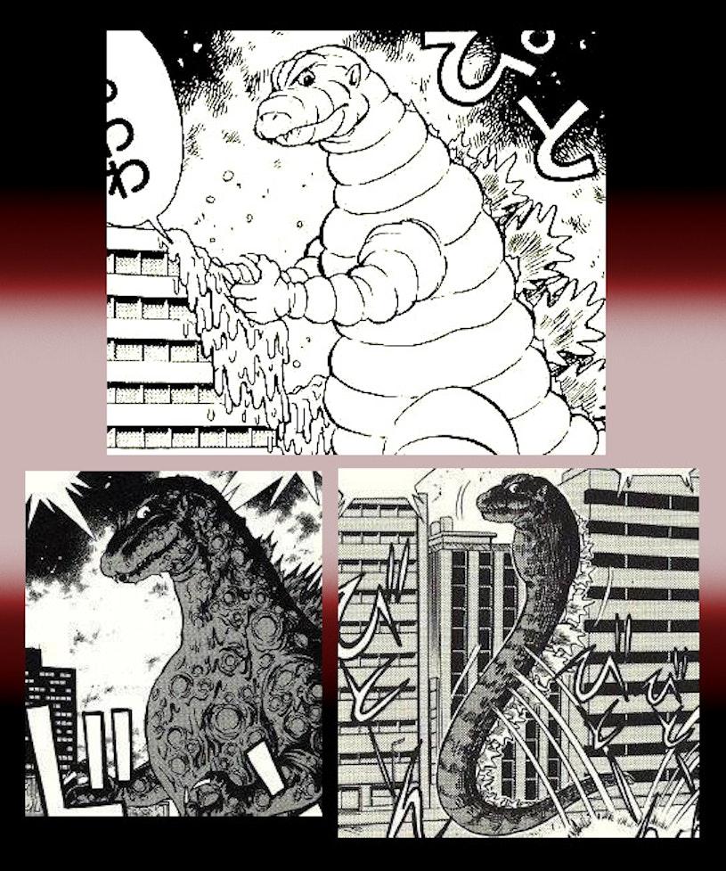 A Sperm Godzilla, as seen in the official 1991 parody comic 'Gojira Shin Kigeki.'