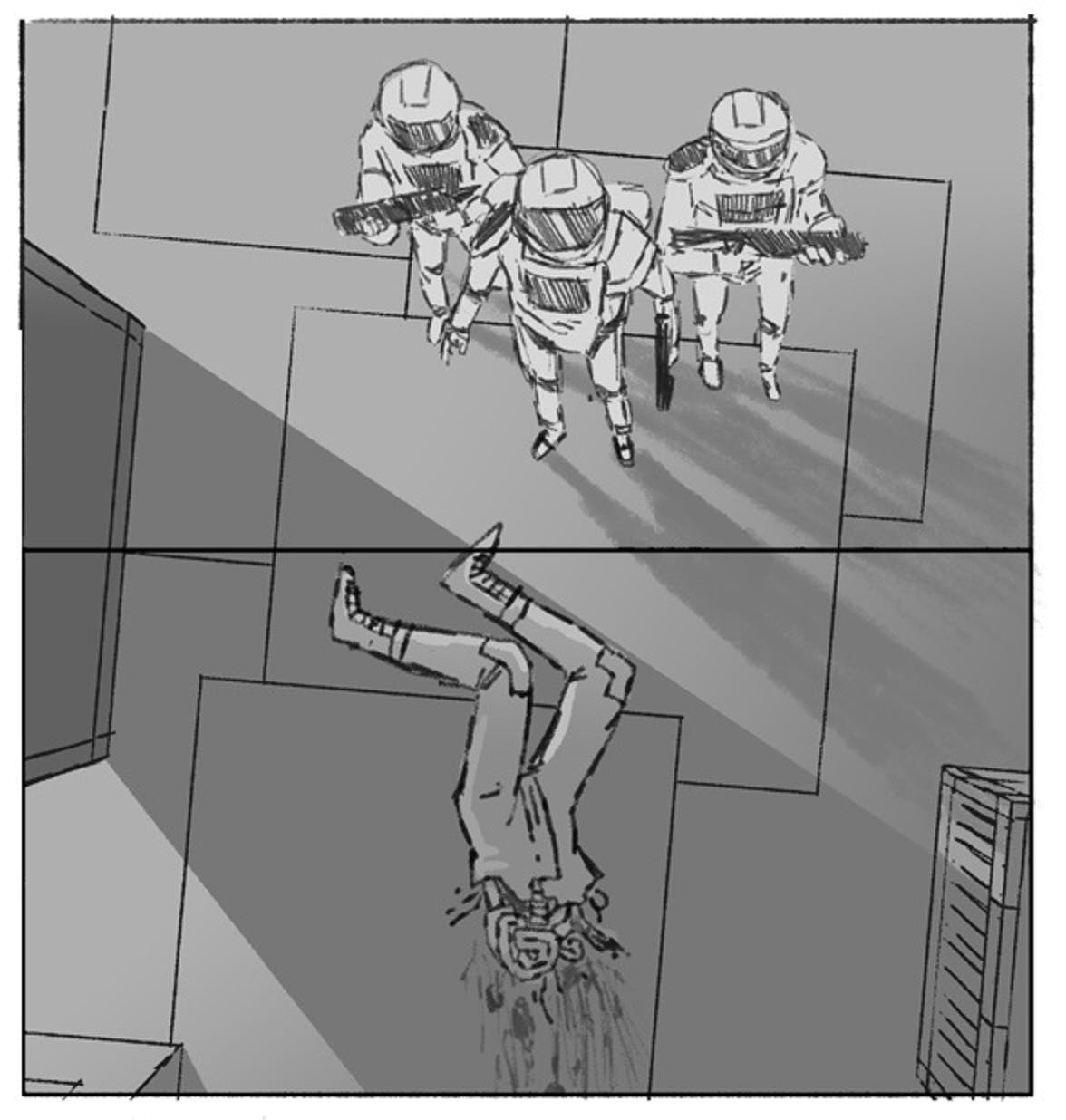 Storyboard art for the never-made script.