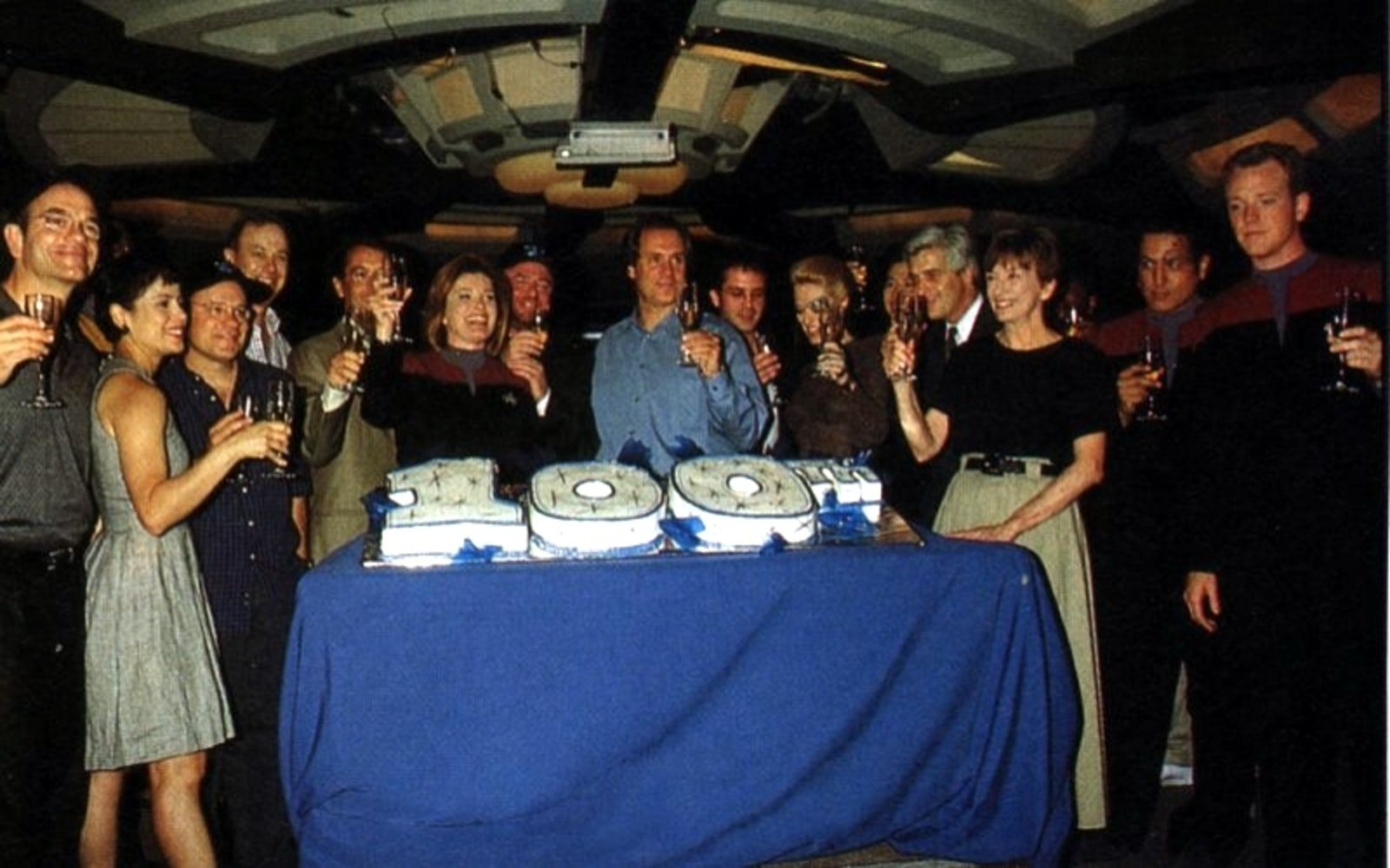 Rick Berman, Jeri Taylor, and the cast and crew of 'Voyager' celebrate their 100th episode