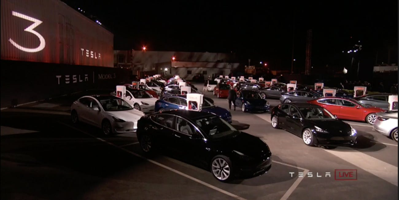 Elon Musk Just Handed off an entire parking lot of Tesla Model 3s