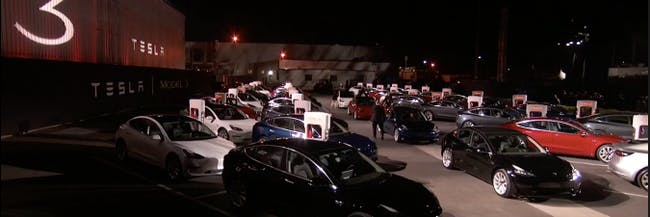 Elon Musk Just Handed off an entire parking lot of Tesla Model 3s