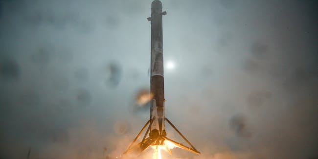 VANDENBERG AIR FORCE BASE, CALIFORNIA: In this handout provided by the National Aeronautics and Space Administration (NASA), SpaceX's Falcon 9 rocket that successfully launched the Jason-3 spacecraft into orbit approaches center of landing droneship on January 17, 2016 after lifting off from Vandenberg Air Force Base, California. The rocket's landing attempt failed after tipping over on the barge. (Photo by NASA via Getty Images)