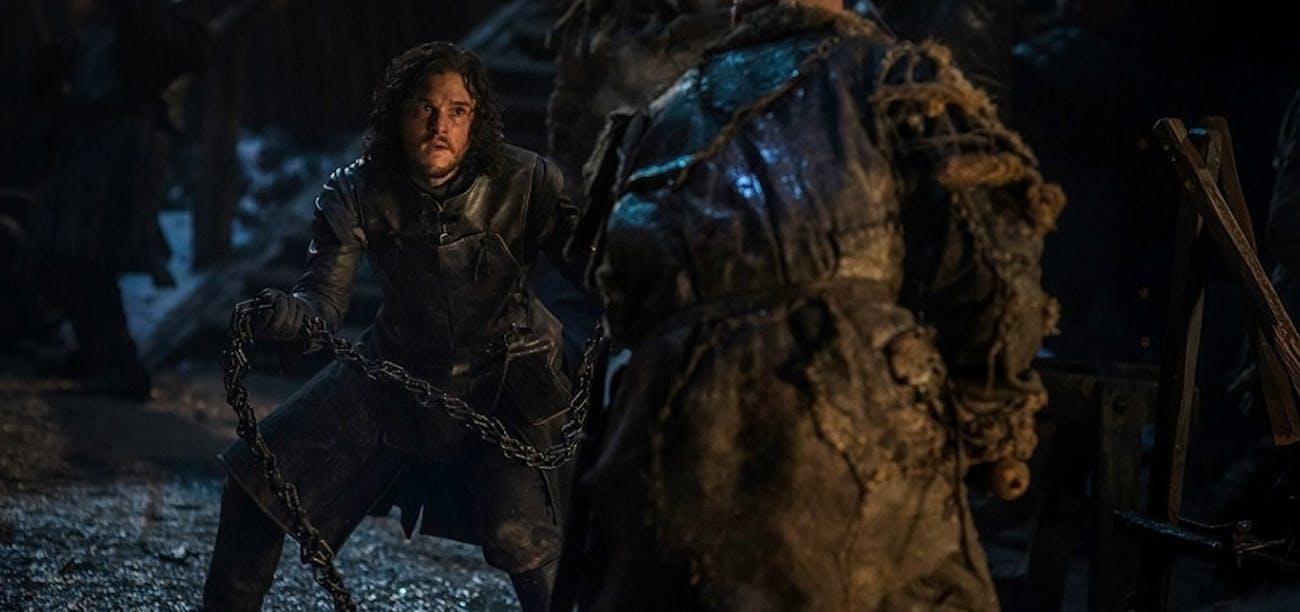 Jon faces off against a Thenn at the Battle of Castle Black.