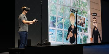 Facebook's Mark Zuckerberg demonstrates social features in the Oculus virtual reality platform at Oculus Connect 3.