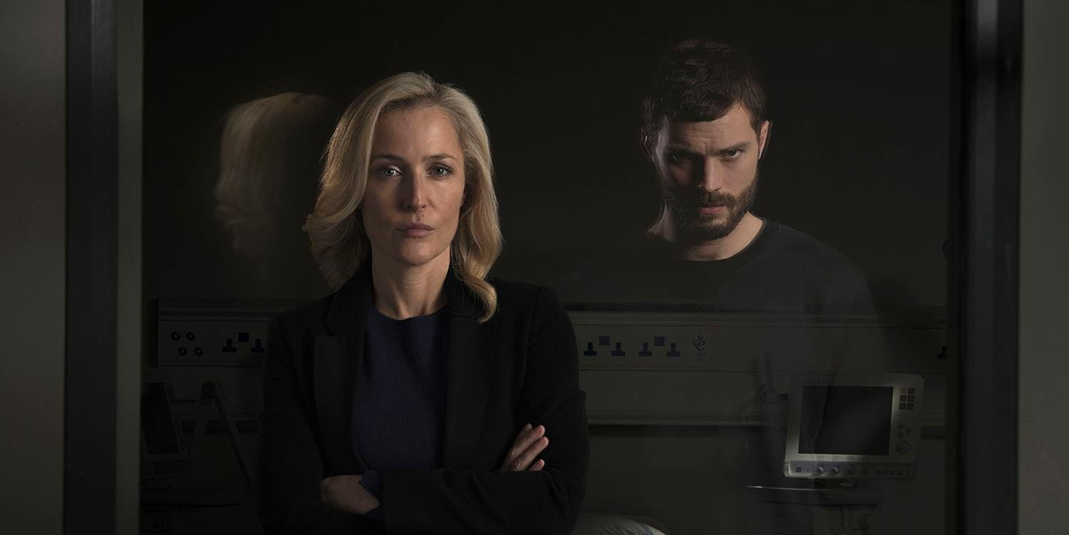 Gillian Anderson as Stella Gibson and Jamie Dornan as Paul Spector in 'The Fall'