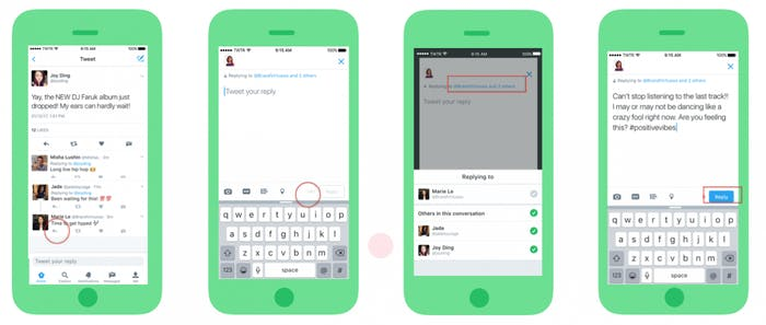 Twitter frees up more text for replies but also allows you to tag loads of people.