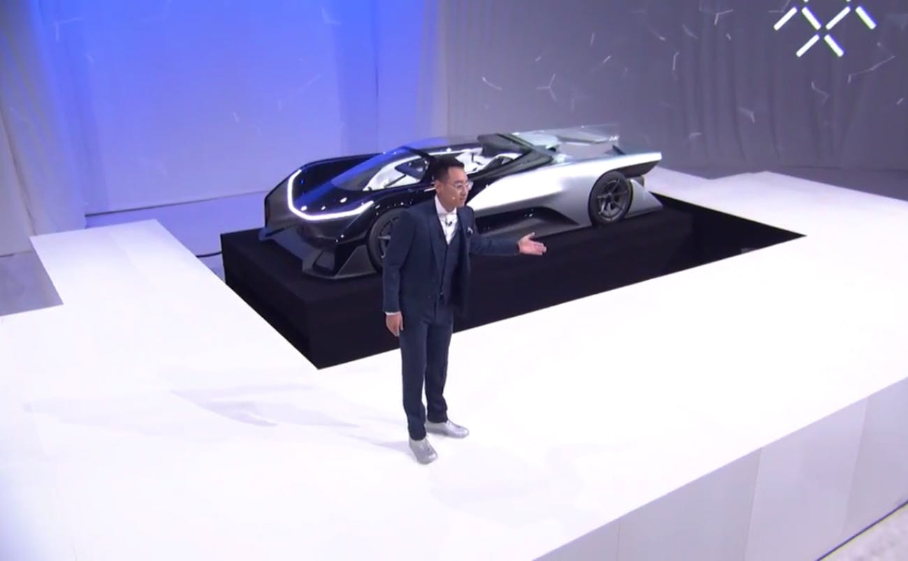 Richard Kim Head Of Global Design Faraday Future Introduces The Ff Zero 1 Concept Car At Ces 2016