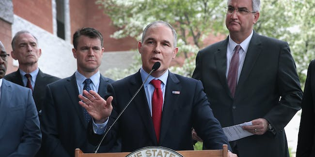 EAST CHICAGO, IN - APRIL 19:  U.S. EPA Administrator Scott Pruitt makes a statement to the media after meeting residents from and taking a brief tour of the West Calumet Housing Complex on April 19, 2017 in East Chicago, Indiana.  Nearly all the residents of the complex were ordered to move by the East Chicago Housing Authority after the soil and many homes in the complex were found to contain high levels of lead. The area has been declared an EPA superfund site. This was Pruitt's first visit to a superfund site since being named the agency's administrator. The complex is scheduled for demolition.  (Photo by Scott Olson/Getty Images)
