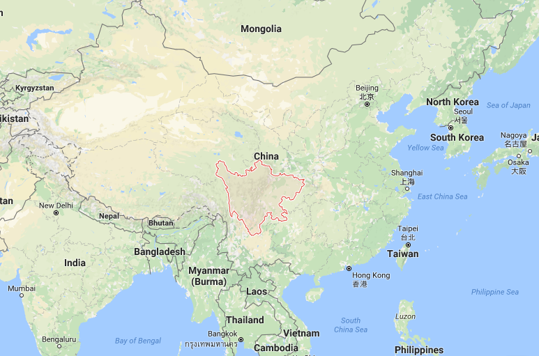 Szechuan sauce is named for Sichuan province (red), a vast area with complex cuisine that is unique to the region.