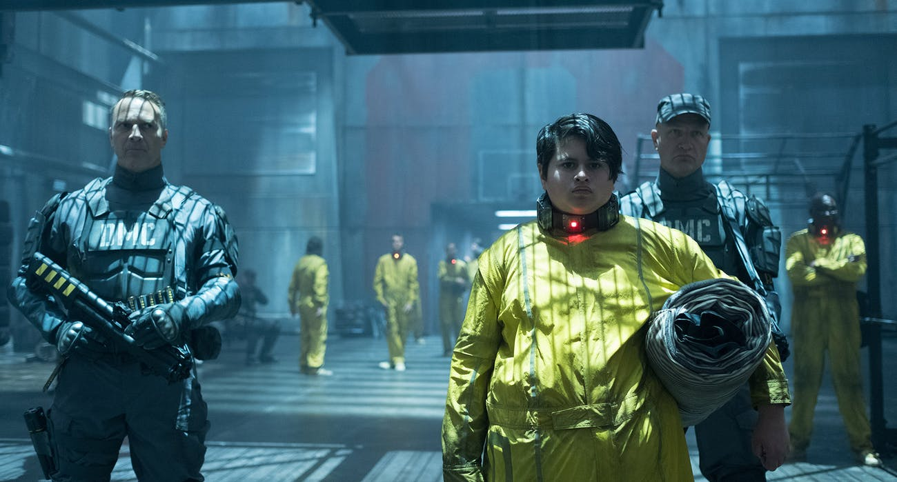"Russell (Julian Dennison), who goes by ""Firefist,"" can summon flames with his hands, and in one dark future he kills lots of people."