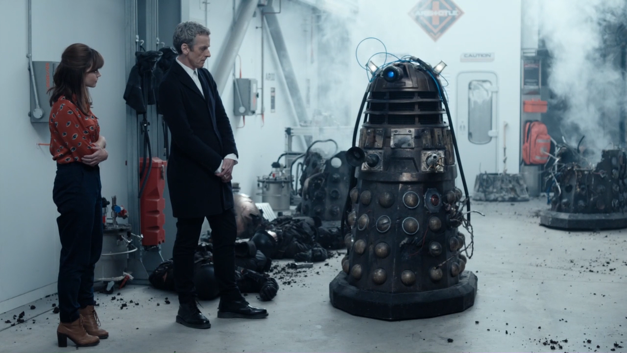 """The Doctor and Clara with Rusty in the episode """"Into the Dalek."""""""