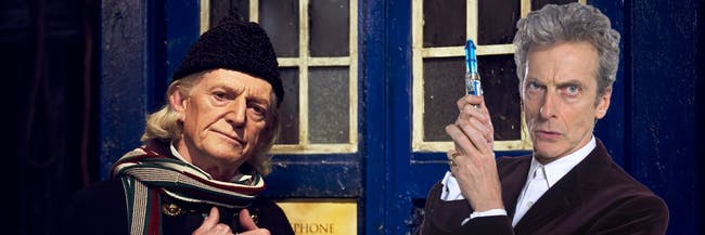 New set photos reveal that the 1st and 12th Doctors will team up in the Christmas Special.