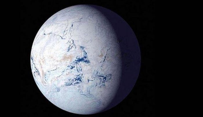 "An artist rendering of the ""Snowball Earth."""