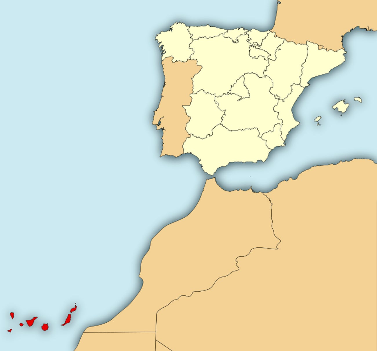 Map Of Spain And Its Islands.Esa Is Sending Its Astronauts To The Canary Islands To Train For
