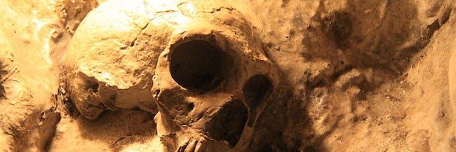 Caption: Neanderthal skulls were found in St. Michaels Cave in Gibraltar.
