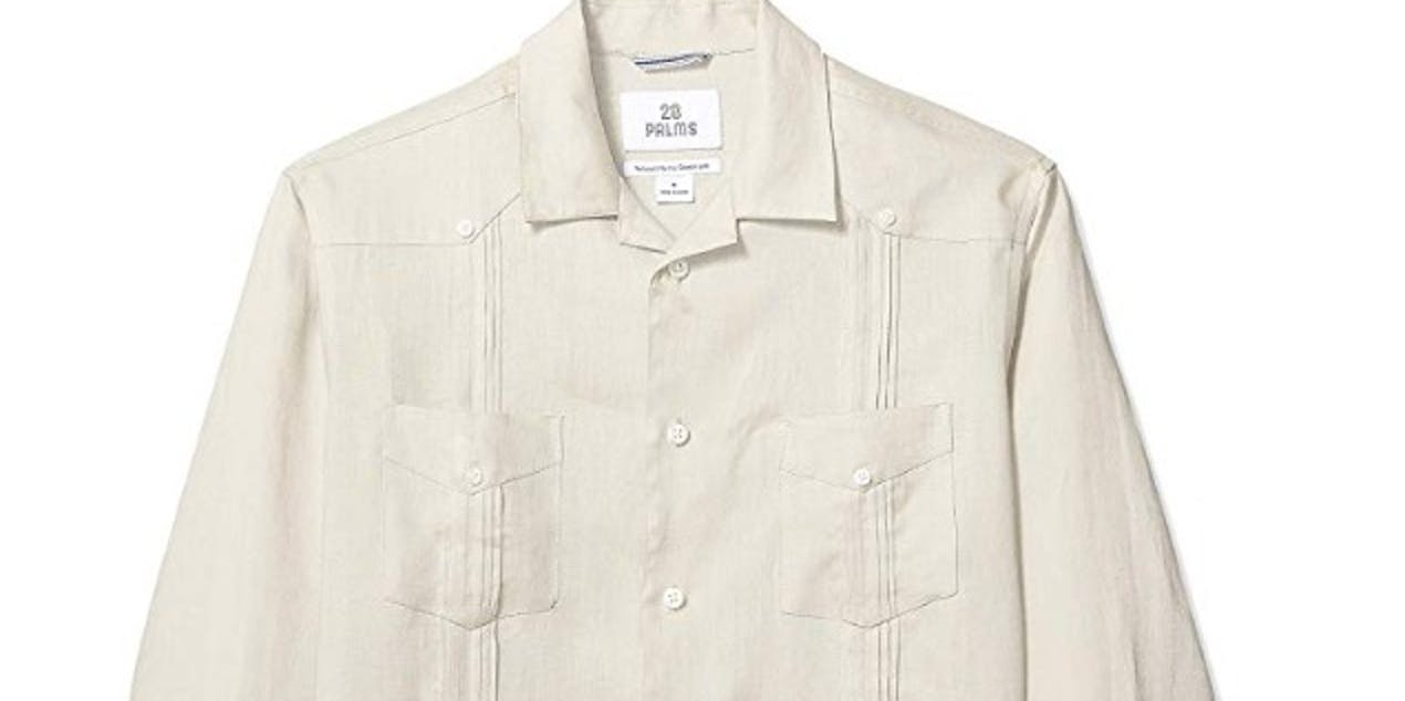 28 Palms Men's Relaxed-Fit Long-Sleeve 100% Linen 4-Pocket Pleated Guayabera Shirt