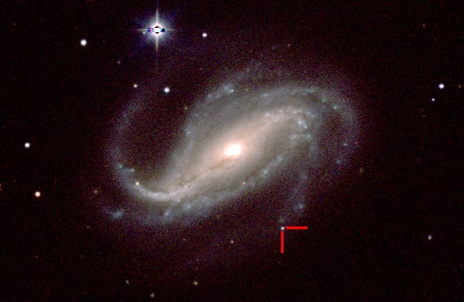 Supernova 2016gkg in NGC 613; color image taken by a group of UC Santa Cruz astronomers on Feb. 18, 2017, with the 1-meter Swope telescope.